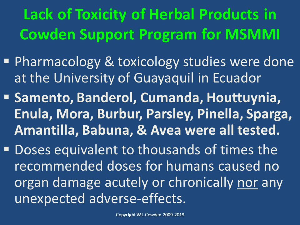 Lack of Toxicity of Herbal Products in Cowden Support Program for MSMMI
