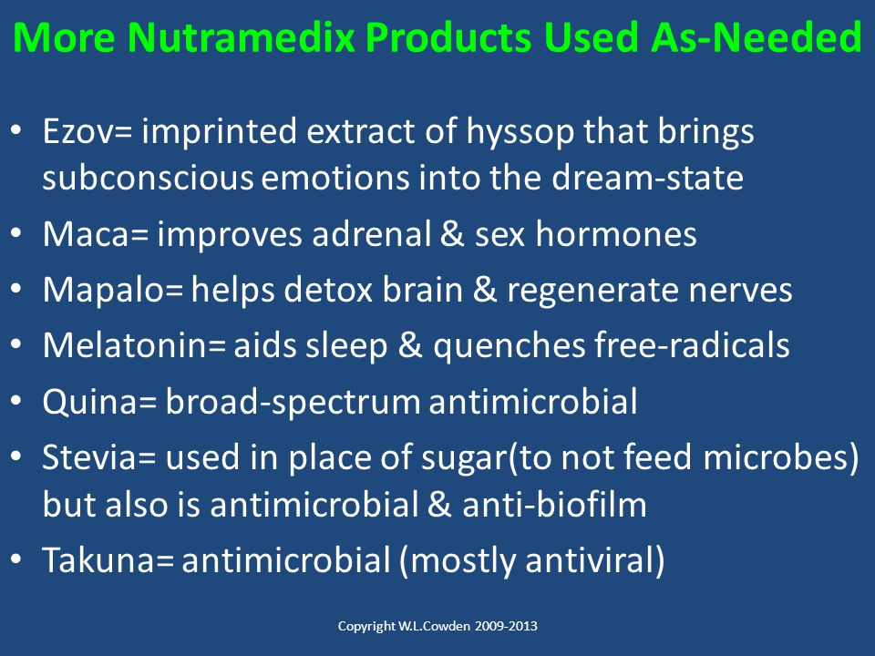 More Nutramedix Products Used As-Needed