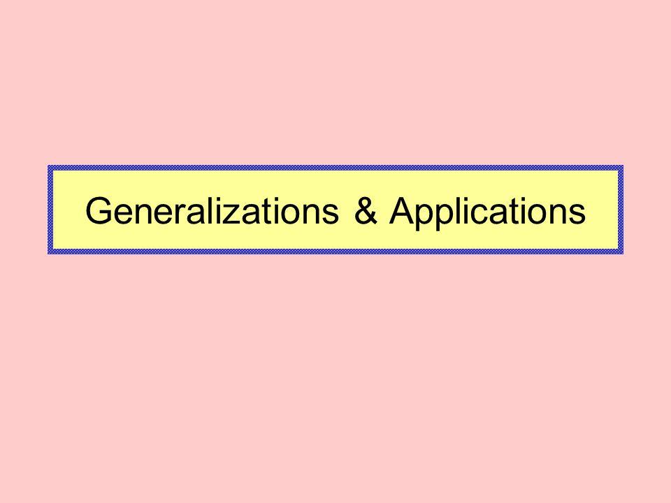 Generalizations & Applications