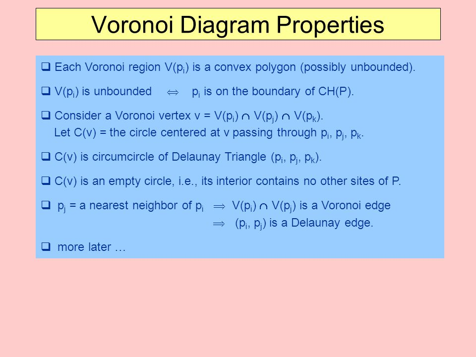 Voronoi Diagram Properties
