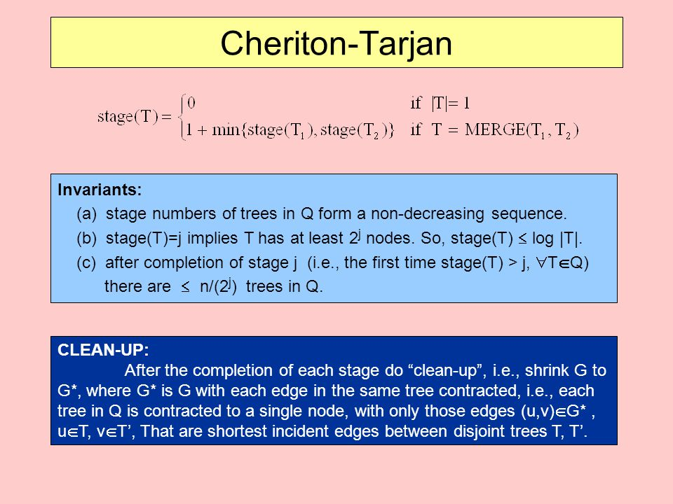 Cheriton-Tarjan Invariants: (a) stage numbers of trees in Q form a non-decreasing sequence.