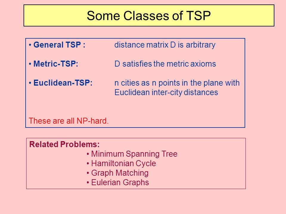 Some Classes of TSP General TSP : distance matrix D is arbitrary