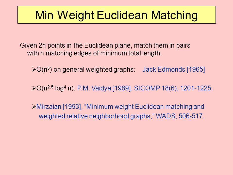 Min Weight Euclidean Matching