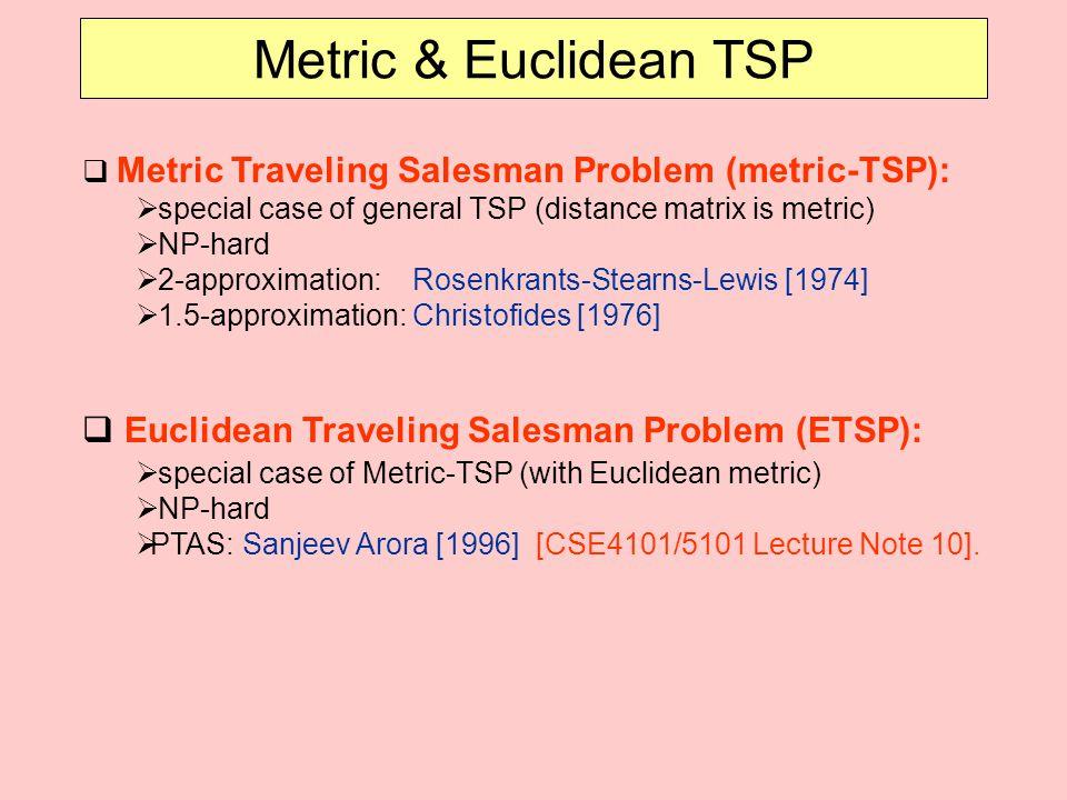 Metric & Euclidean TSP Euclidean Traveling Salesman Problem (ETSP):