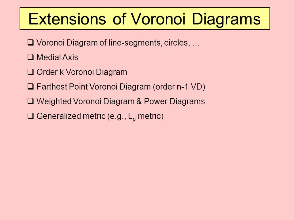 Extensions of Voronoi Diagrams