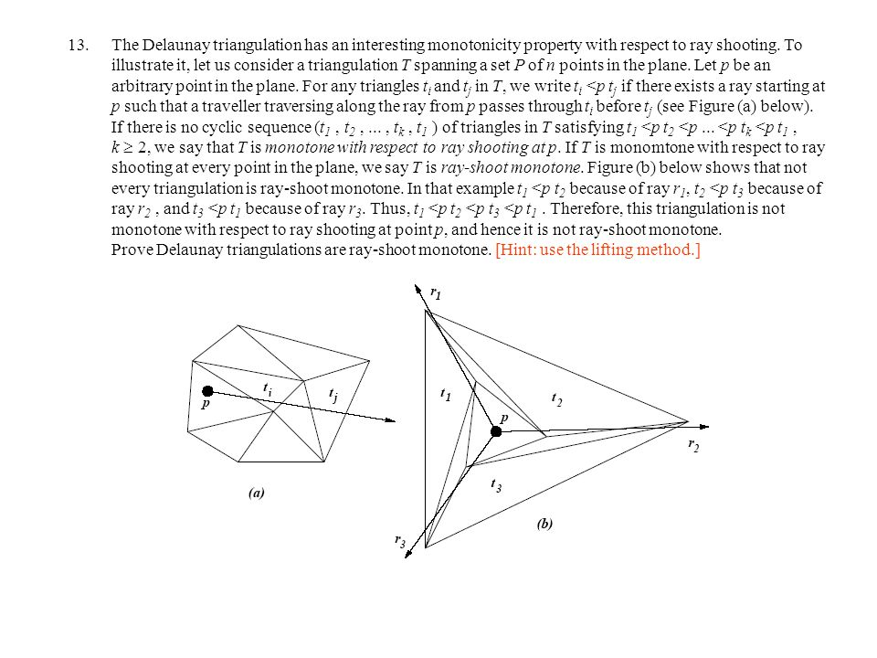 The Delaunay triangulation has an interesting monotonicity property with respect to ray shooting.