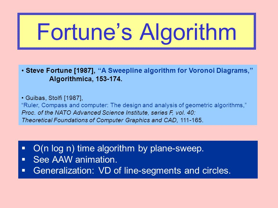 Fortune's Algorithm O(n log n) time algorithm by plane-sweep.