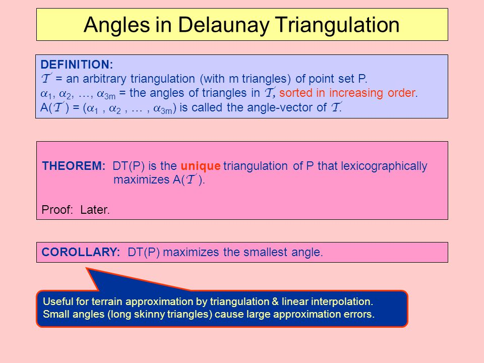 Angles in Delaunay Triangulation