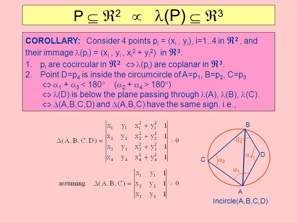 P  2  l(P)  3 COROLLARY: Consider 4 points pi = (xi , yi), i=1..4 in 2 , and. their immage l(pi) = (xi , yi , xi2 + yi2) in 3.