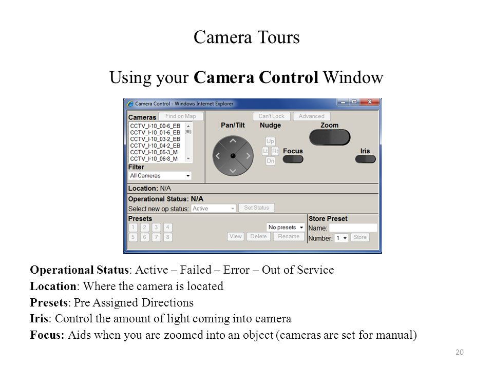 Using your Camera Control Window