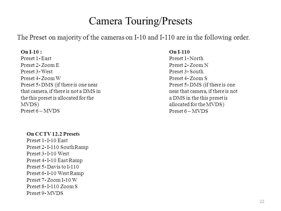 Camera Touring/Presets