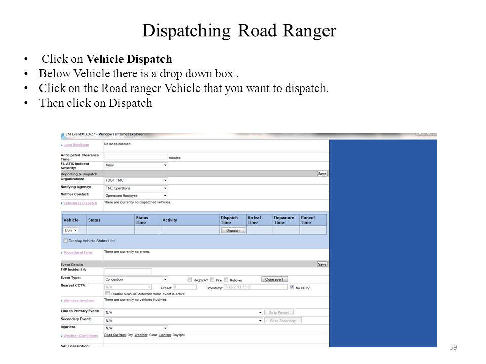 Dispatching Road Ranger