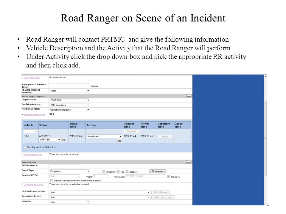 Road Ranger on Scene of an Incident