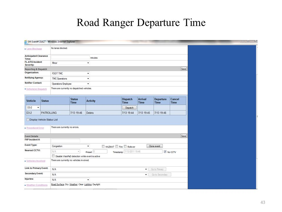 Road Ranger Departure Time
