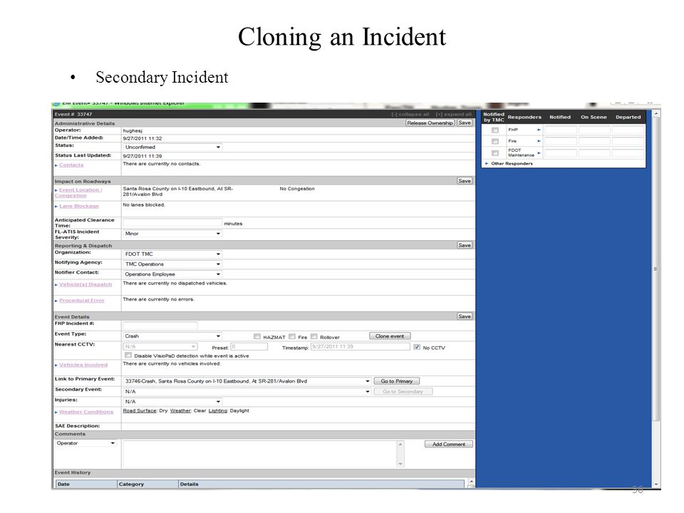 Cloning an Incident Secondary Incident