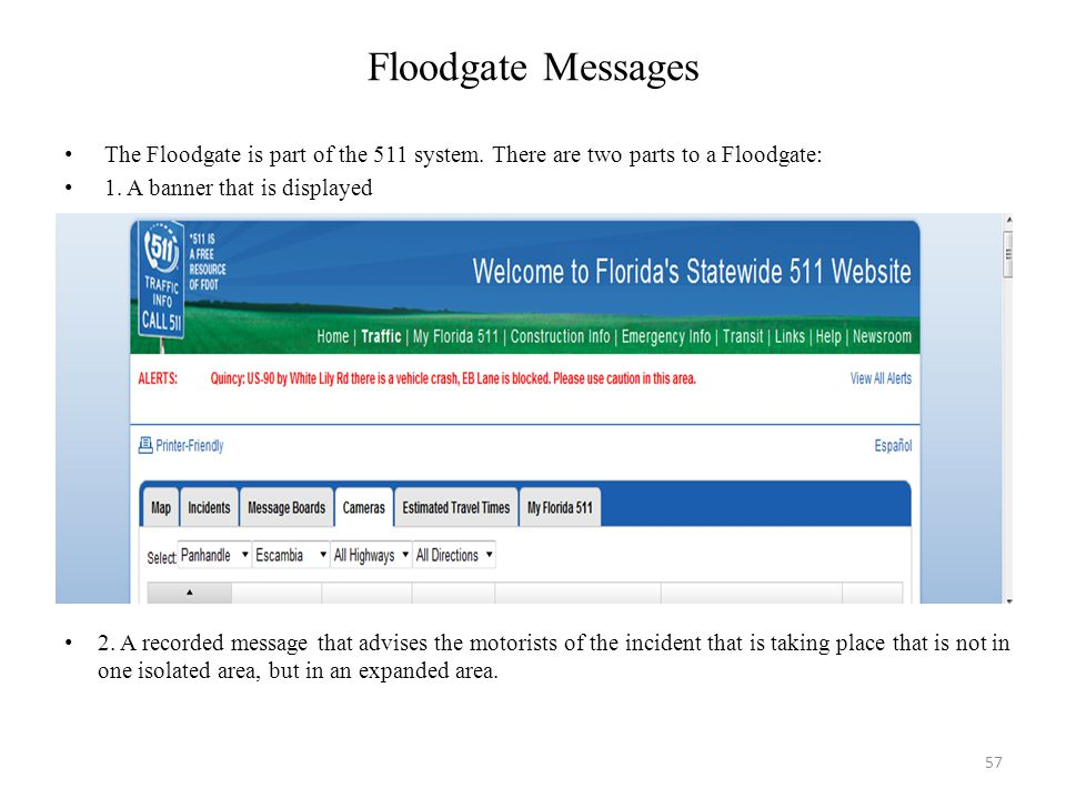 Floodgate Messages The Floodgate is part of the 511 system. There are two parts to a Floodgate: 1. A banner that is displayed.