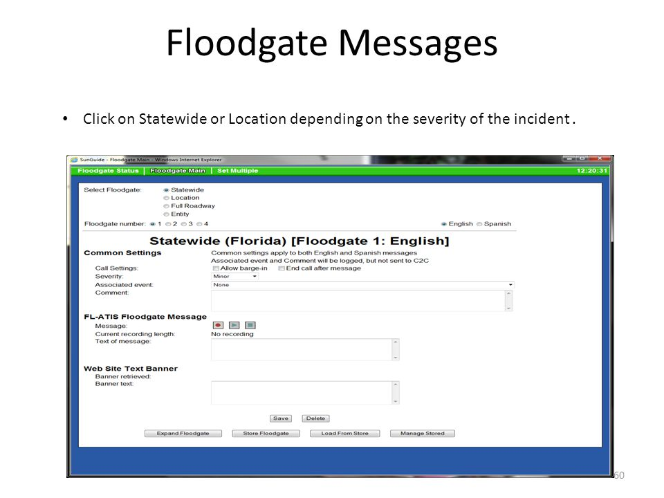 Floodgate Messages Click on Statewide or Location depending on the severity of the incident .
