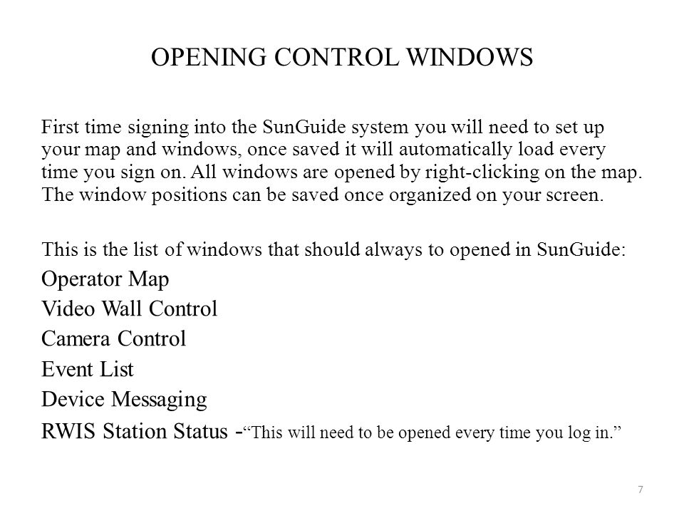 OPENING CONTROL WINDOWS