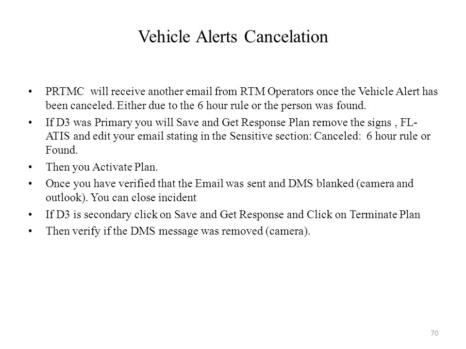 Vehicle Alerts Cancelation
