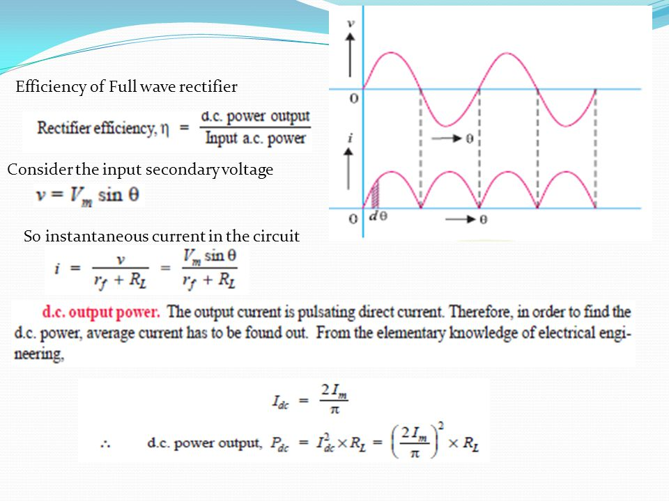 Efficiency of Full wave rectifier