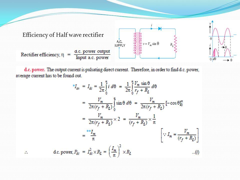 Efficiency of Half wave rectifier
