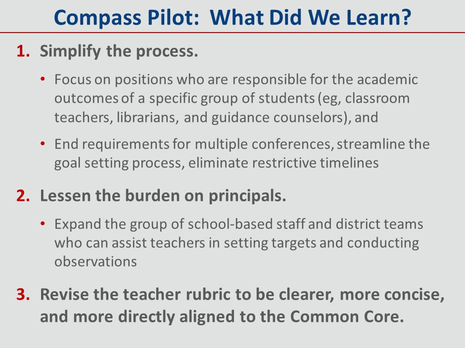Compass Pilot: What Did We Learn
