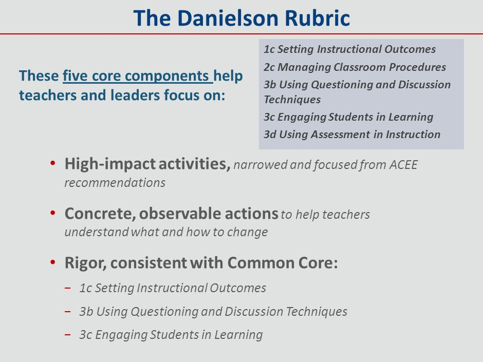 The Danielson Rubric 1c Setting Instructional Outcomes. 2c Managing Classroom Procedures. 3b Using Questioning and Discussion Techniques.