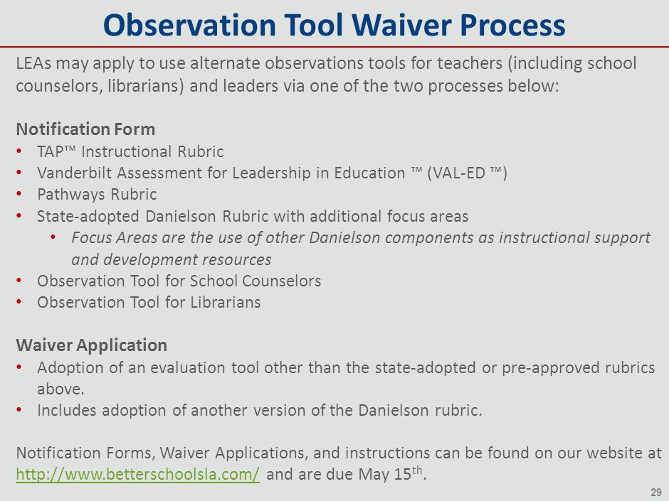Observation Tool Waiver Process