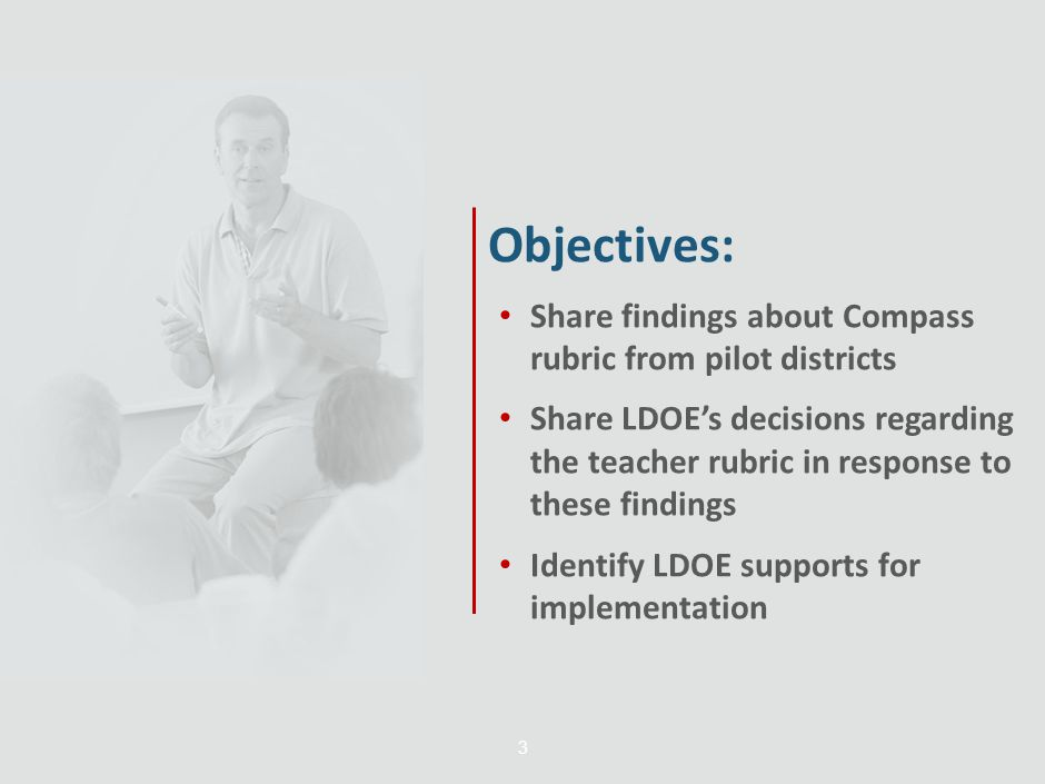 Objectives: Share findings about Compass rubric from pilot districts