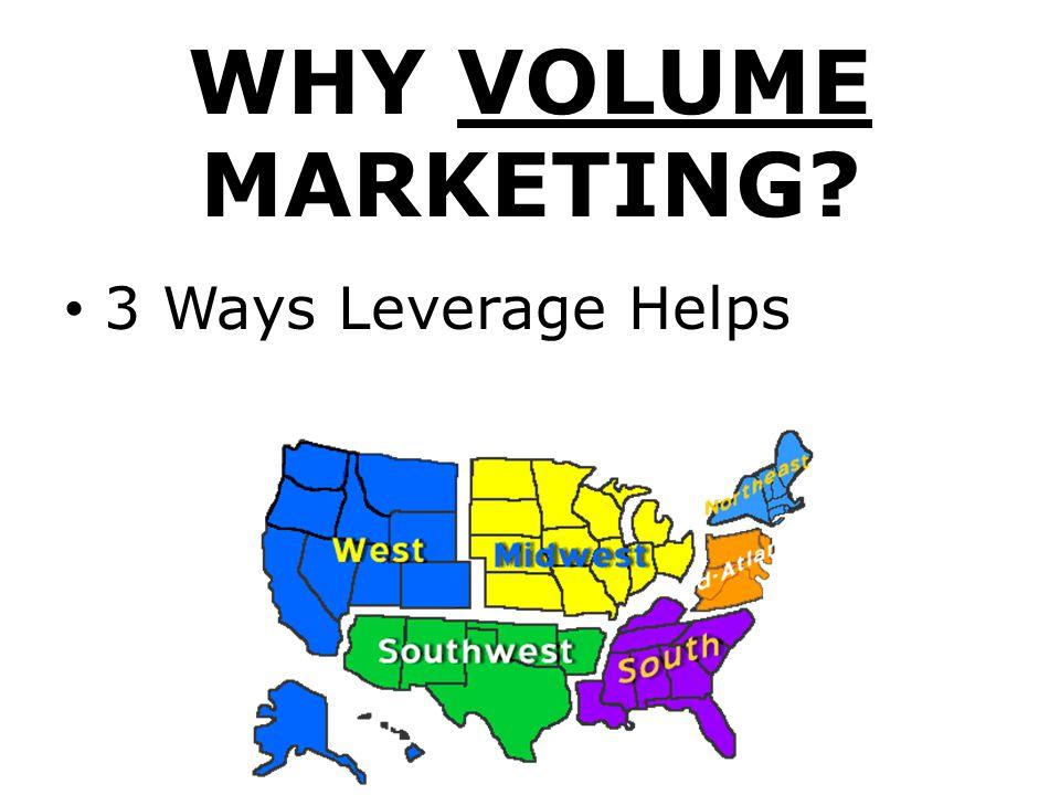 WHY VOLUME MARKETING 3 Ways Leverage Helps