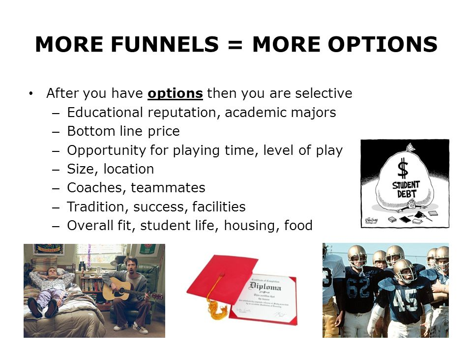MORE FUNNELS = MORE OPTIONS
