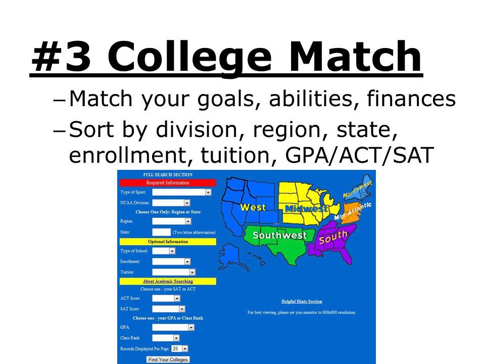 #3 College Match Match your goals, abilities, finances