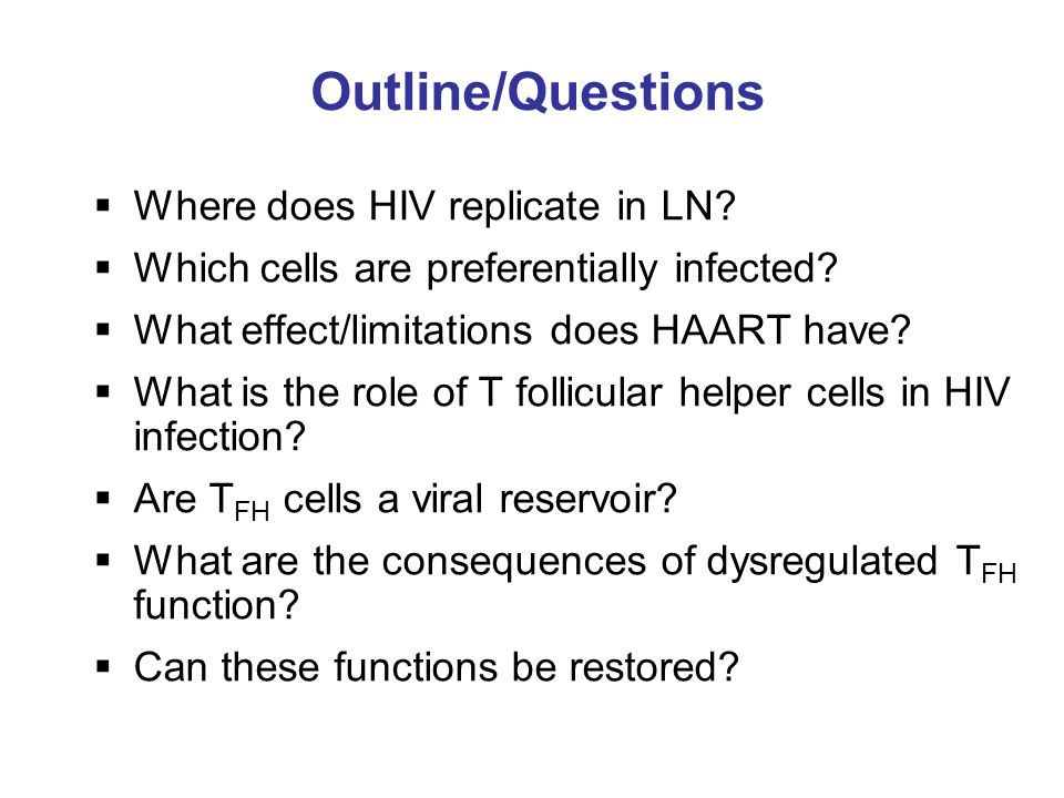 Outline/Questions Where does HIV replicate in LN