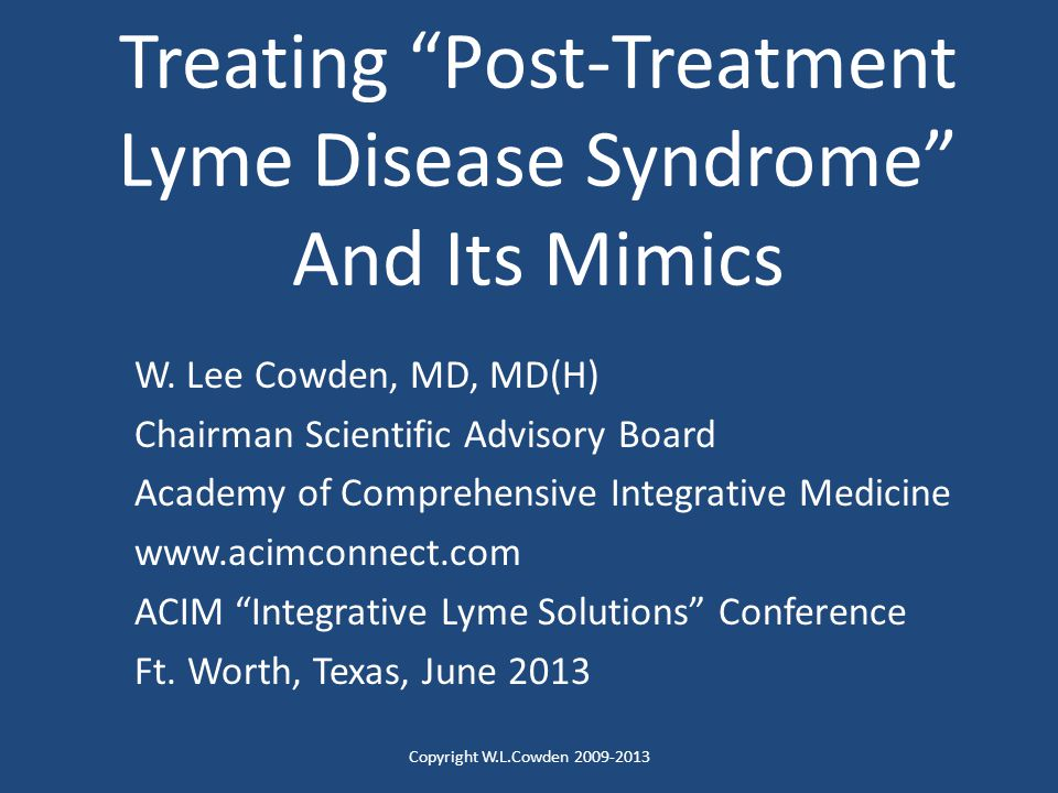 Treating Post-Treatment Lyme Disease Syndrome And Its Mimics