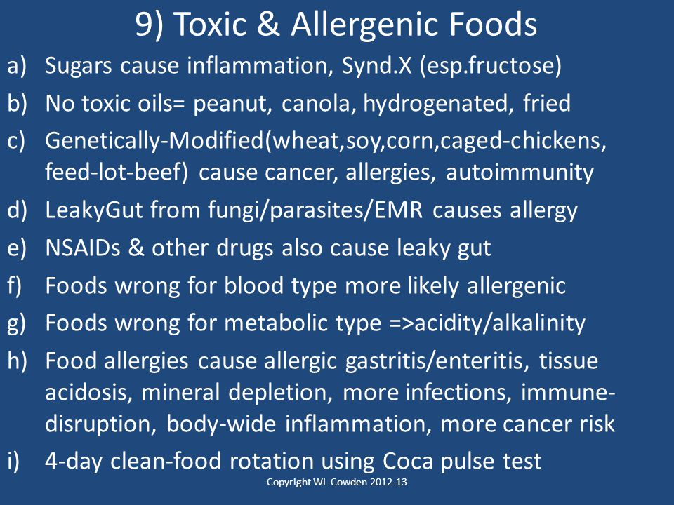 9) Toxic & Allergenic Foods
