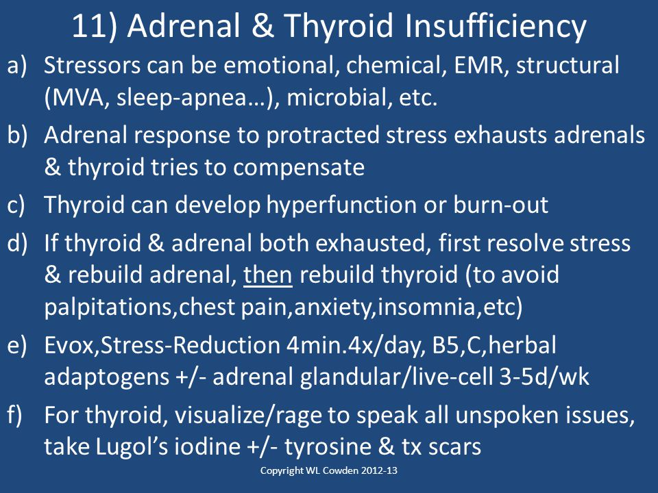 11) Adrenal & Thyroid Insufficiency