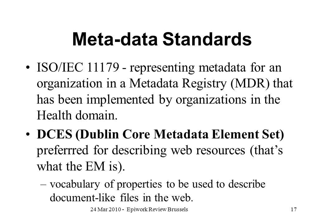 Meta-data Standards
