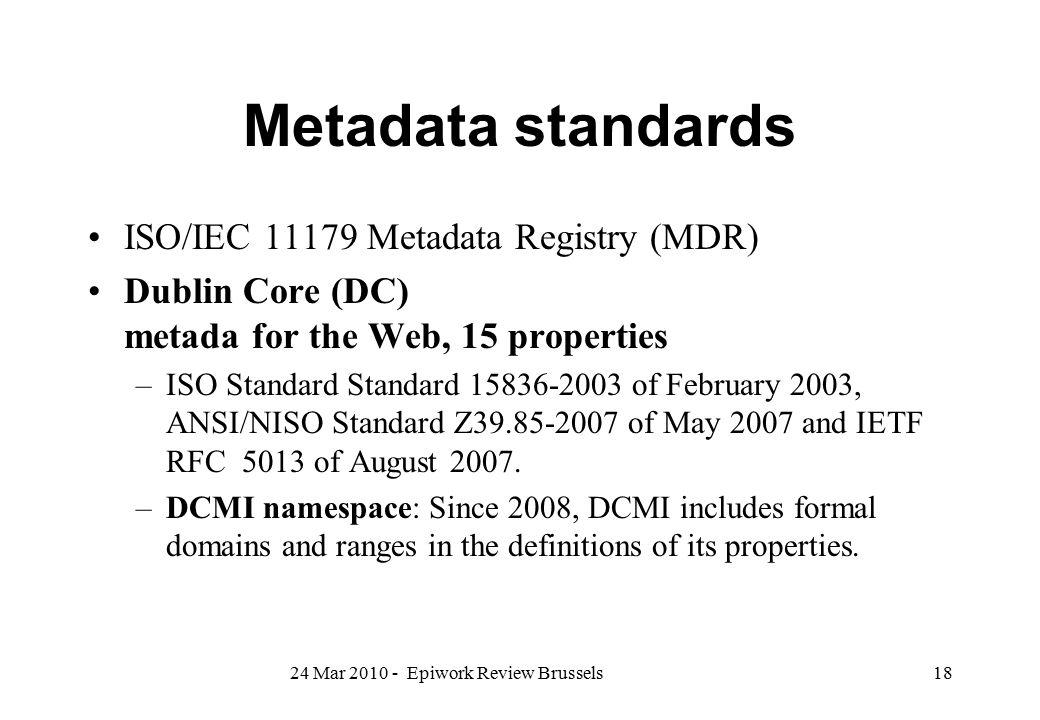 Metadata standards ISO/IEC 11179 Metadata Registry (MDR)