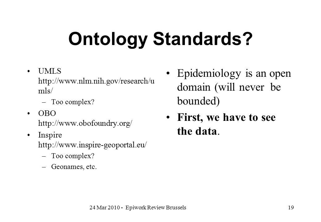 Ontology Standards UMLS http://www.nlm.nih.gov/research/umls/ Too complex OBO http://www.obofoundry.org/