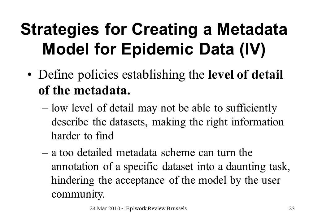 Strategies for Creating a Metadata Model for Epidemic Data (IV)