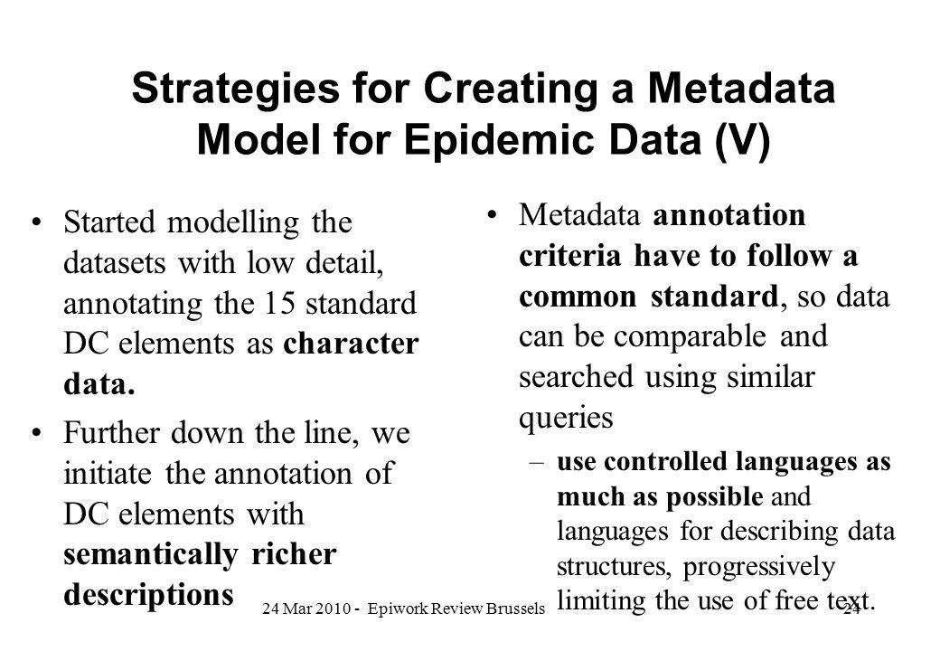 Strategies for Creating a Metadata Model for Epidemic Data (V)
