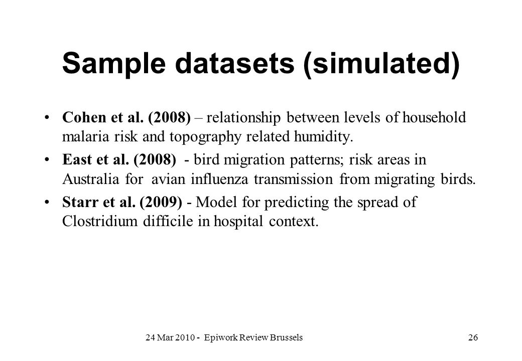 Sample datasets (simulated)
