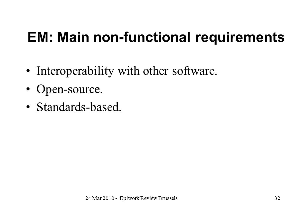 EM: Main non-functional requirements