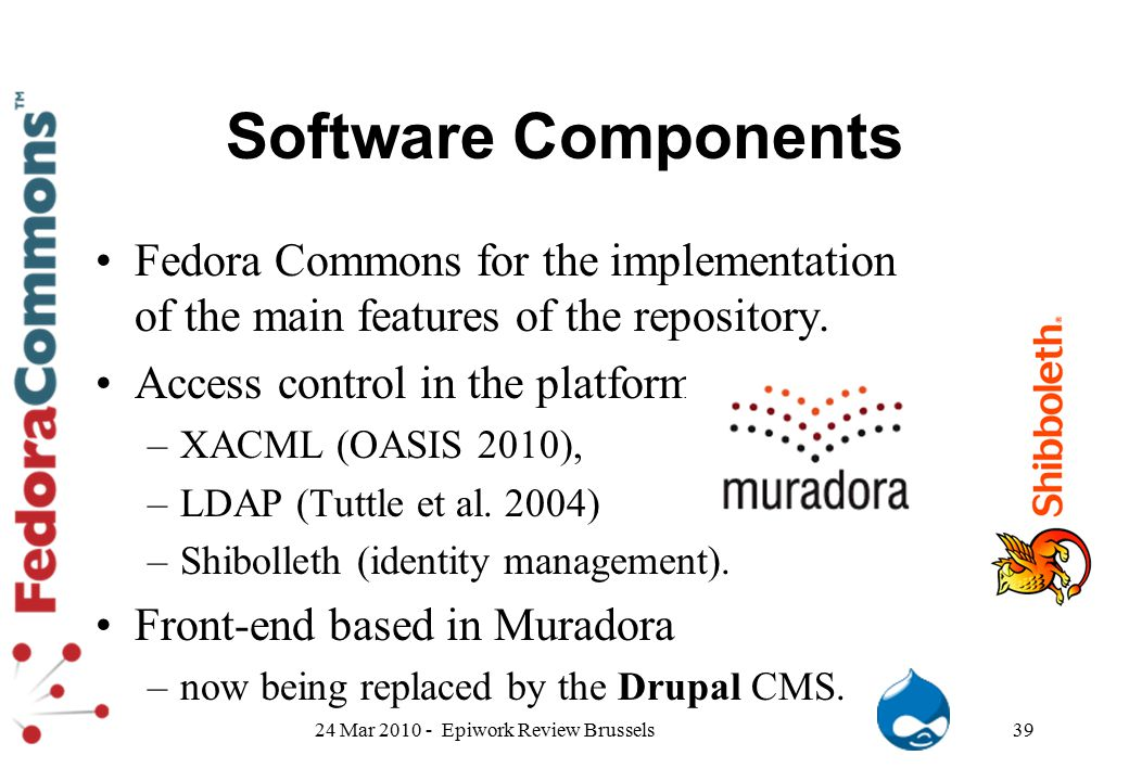 Software Components Fedora Commons for the implementation of the main features of the repository. Access control in the platform.