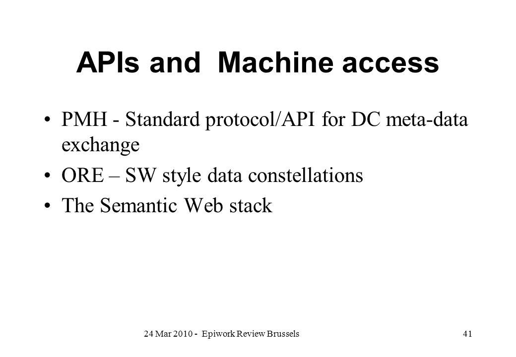 APIs and Machine access