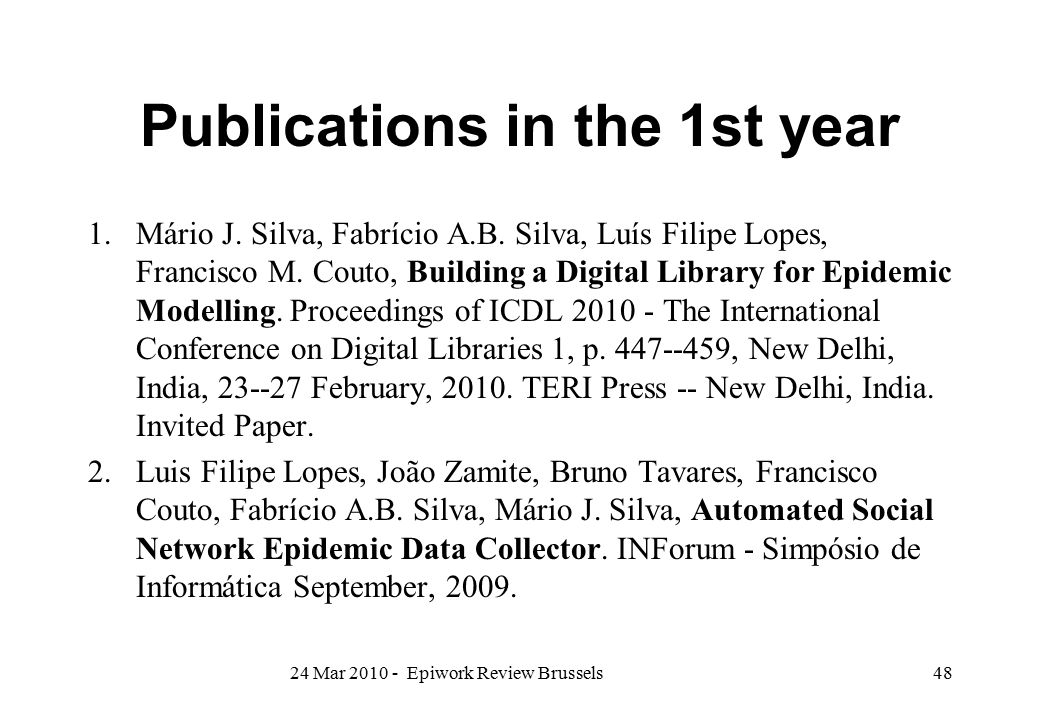 Publications in the 1st year