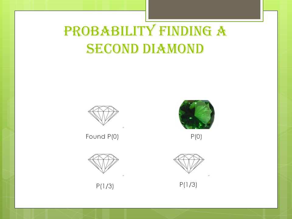 Probability finding a second diamond