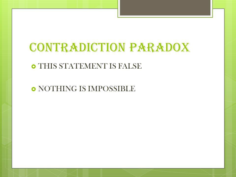 CONTRADICTION PARADOX