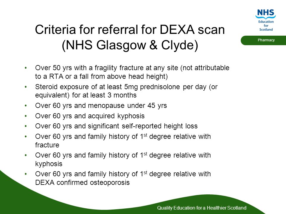 Criteria for referral for DEXA scan (NHS Glasgow & Clyde)