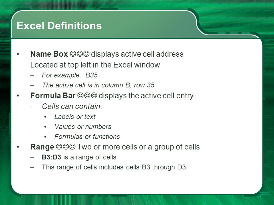 Excel Definitions Name Box  displays active cell address